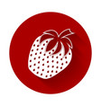 strawberry icon flat design with long shadow vector image vector image