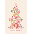 Stylized Christmas tree made of flowers vector image