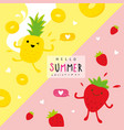 summer fruit pineapple strawberry cartoon vector image