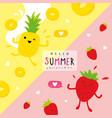summer fruit pineapple strawberry cartoon vector image vector image