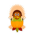 turkey bird with traditional food and indian hat vector image vector image
