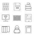 work with book icons set outline style vector image vector image