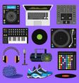 dj music discjockey playing disco on vector image
