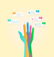 abstract infographic business steps with hand vector image