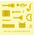 Pixel art music instruments isolated vector image