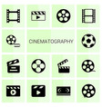 14 cinematography icons vector image vector image