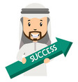 arab holding success arrow on white background vector image vector image