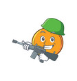 army orange fruit cartoon character vector image vector image