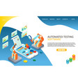 automated software testing landing page website vector image