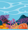 background scene with coral reef underwater vector image