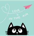 black cat looking up to pink flying origami paper vector image vector image