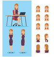 businesswoman working in the office with set poses vector image