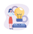 businesswomen with bulb idea and bills with gears vector image vector image