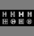 capital letter h modern set for monograms logos vector image vector image