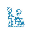 care for the elderly linear icon concept care for vector image vector image