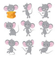 cartoon mouse gray mice in different poses cute vector image vector image