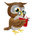 cartoon owl reading a book vector image