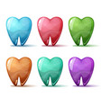 cartoon set tooth blue red pink green blue vector image