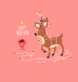 christmas and happy new year holidays card funny vector image vector image