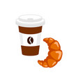 coffee to go with croissant isolated on vector image