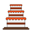color image wedding cake with cream vector image vector image