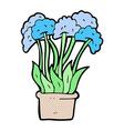comic cartoon flowers in pot vector image vector image