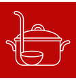Cooking pot and ladle vector image