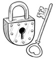doodle lock key old vector image vector image
