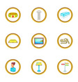 excursion icons set cartoon style vector image vector image