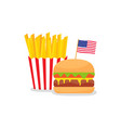 fast food banner with american flag and hamburger vector image