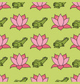 frogs and lotus flowers in rows on bright green vector image vector image
