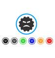furious smiley gear icon vector image vector image