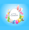 happy easter day easter eggs with tulips vector image