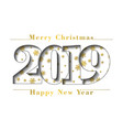 happy new year merry christmas gold card number vector image