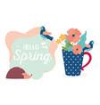 hello spring hedgehog flowers in vase decoration vector image