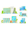 hotel buildings with trees and cars isolated icons vector image