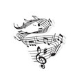musical wave music notes and clef on stave vector image vector image