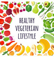 poster colorful vegetables and fruits vector image vector image