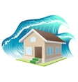Property insurance Flood Wave washes away home vector image vector image