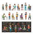 reading people set isolated study in atheneum vector image vector image