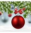 Red bauble on spruce branches vector image vector image
