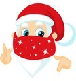 santa claus wit face mask - coronavirus christmas vector image vector image