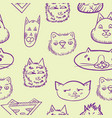 seamless pattern with cats doodle cats vector image vector image