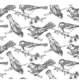 Seamless pattern with hand drawn ornate birds on vector image vector image