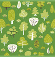 seamless pattern woth tree plants on green vector image vector image