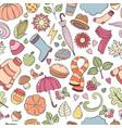 set autumn hand drawn doodle vector image