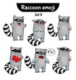 set of cute raccoon characters set 4 vector image