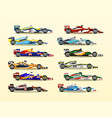 set of racing bolid a collection of sports cars vector image vector image