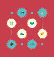 set of summer icons flat style symbols with waves vector image