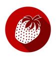 strawberry icon flat design with long shadow vector image
